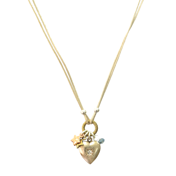 HEART WITH MINI STARS CHARM NECKLACE - product image