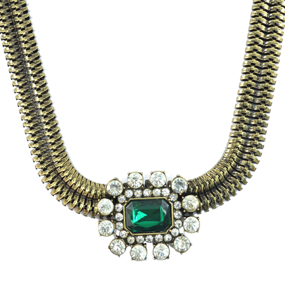 FLAT CHAIN WITH LARGE CRYSTAL NECKLACE - product image