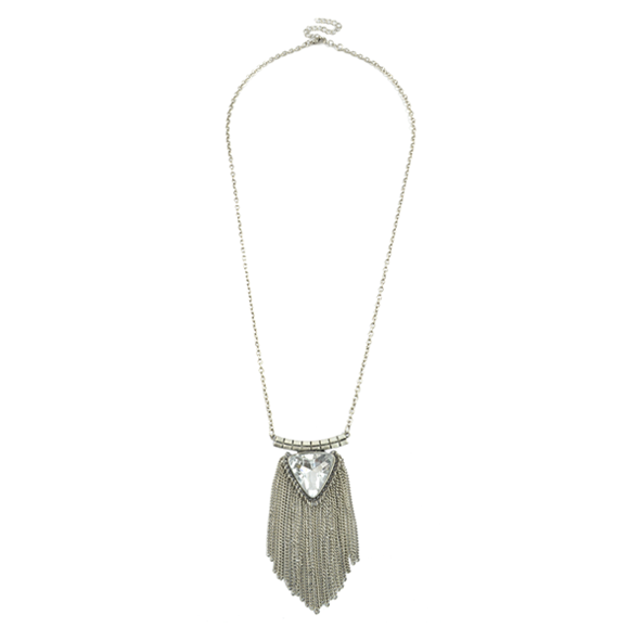 TRIANGLE CRYSTAL NECKLACE WITH CHAIN TASSELS - product image