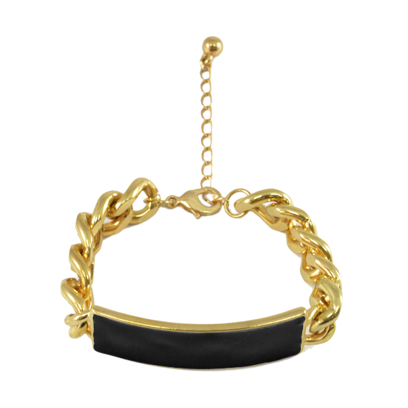 BLACK CHARM CHUNKY CHAIN BRACELET - product image