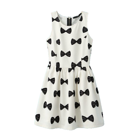 BOW,DRESS,black and white dress, tea dress, cute dress, sleeveless dress