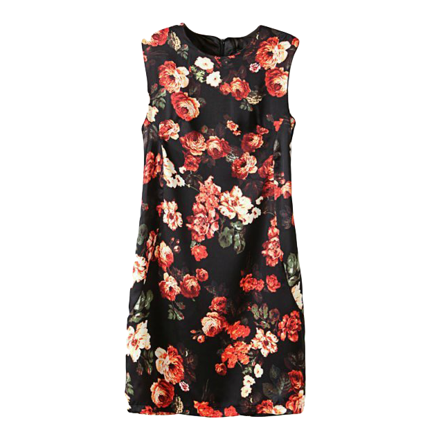 SLIM FLORAL SLEEVELESS DRESS - product image