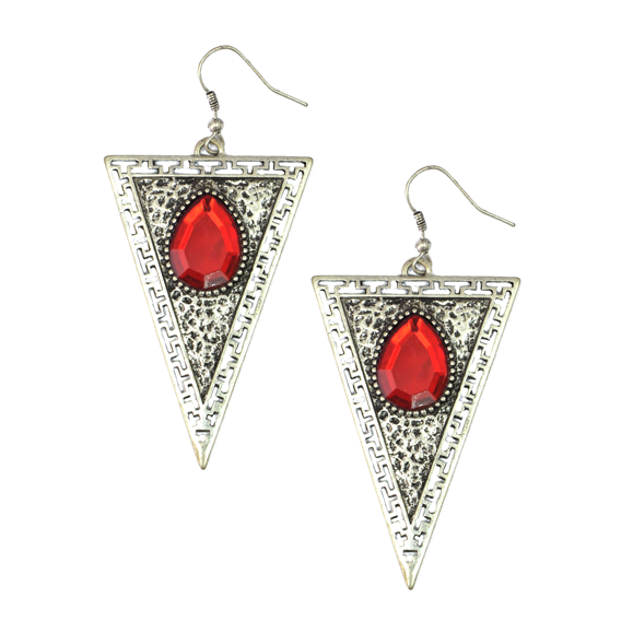 TRIANGLE WITH  GEMSTONE EARRINGS - product image