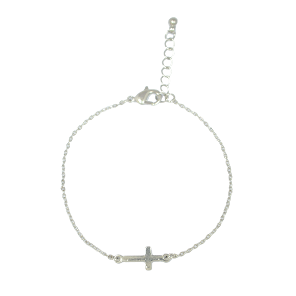SILVER CROSS BRACELET - product image