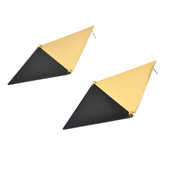 LARGE DOUBLE TRIANGLE EARRINGS - product image