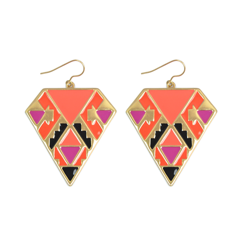 COLOURFUL,AZTEC,EARRINGS,triangle earrings, lozenge earrings, lozenge jewelry