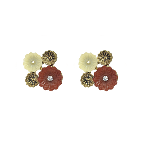SPRING,FLOWER,EARRINGS,flower earrings, red flower earrings, gold flower earrings