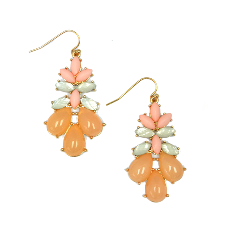 FLORAL,GEMSTONE,CRYSTAL,EARRINGS,gemstone drop earrings, orange gemstone earrings, summer gemstone earrings