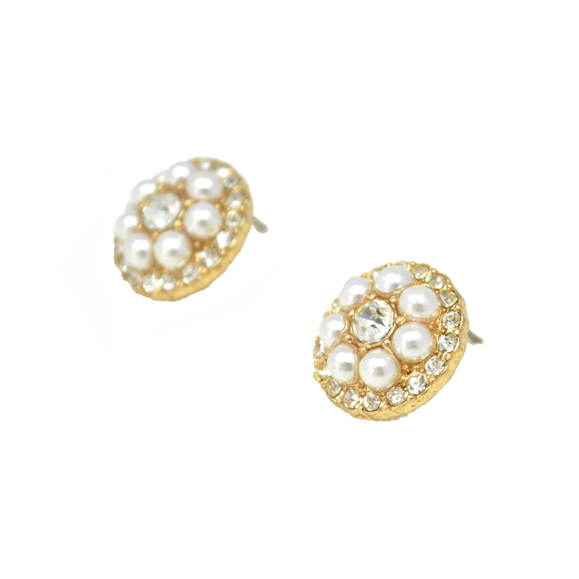 FAUX PEARL AND CRYSTAL EARRINGS - product image