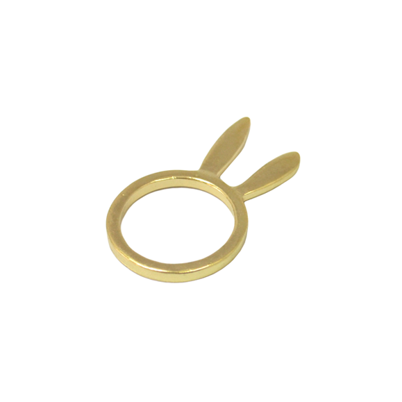 STANDING RABBIT EARS -- Brushed Gold RING - product image