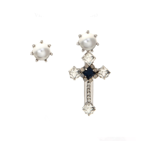 CROSS,AND,PEARL,EARRING,SET,pearl earrings, cross earrings, pearl crystal earrings