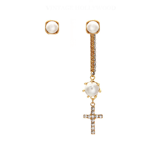 DROP,CROSS,AND,CRYSTAL,EARRING,SET,pearl and cross earrings, cross drop earrings, pearl drop earrings