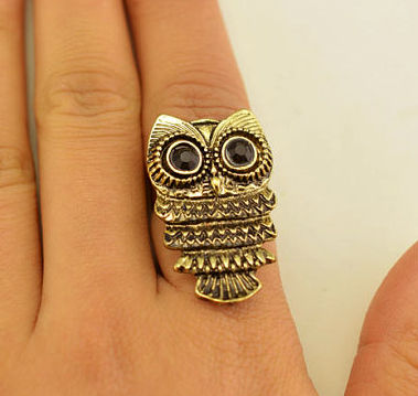 LARGE,OWL,RING,vintage owl ring, silver owl rings, gold owl ring, rings and things