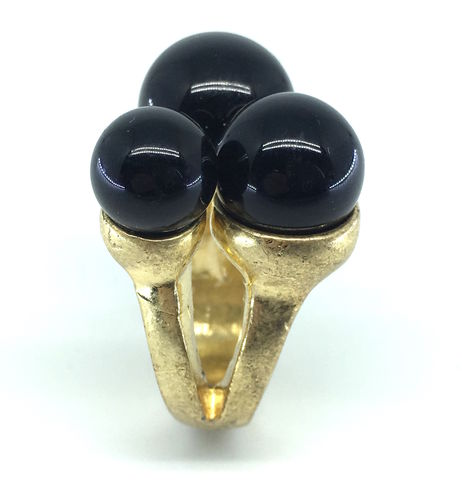 BLACK,BERRIESSTONE,CHIC,RING,Brushed vintage gold Ring #MUST BUY ELEGANT AND CHIC GIFT