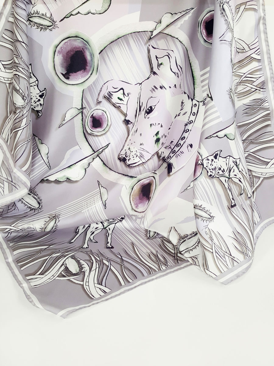 Space dog Lilac NEW limited edition silk scarf - product image