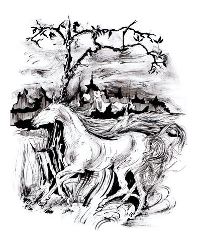 Ride,to,the,sky,artprint, poster, horses, drawing of horses, indrawings.