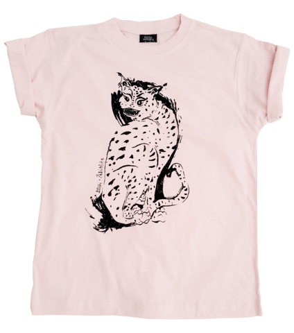 WILDLIFE,T-SHIRT,ROSE,t-shirt, screenprinted shirt, wildlife, cats