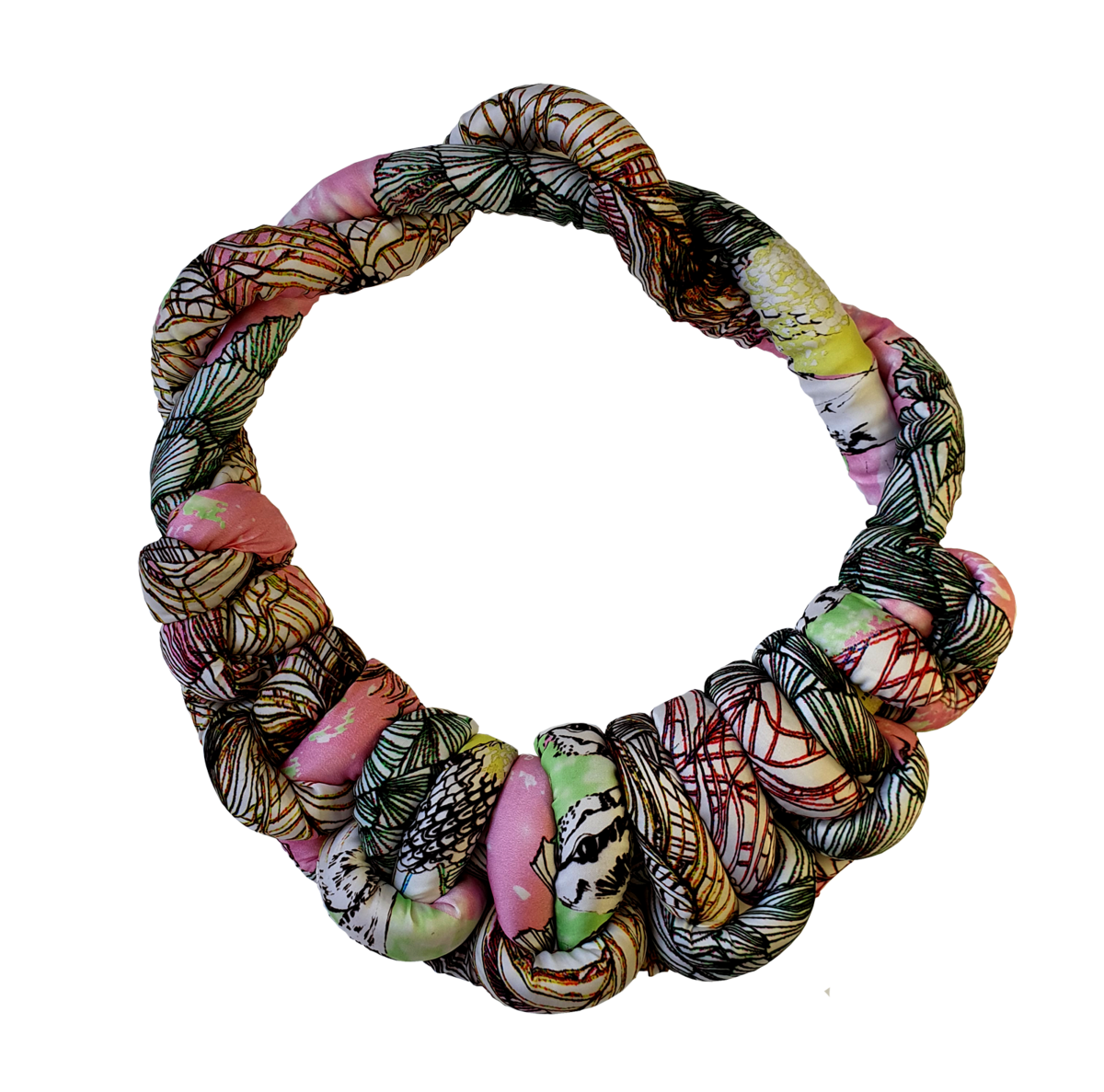 NEW Recycled silk sausage peacock necklace  - product images  of
