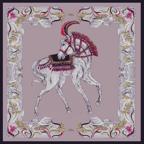 SMOKY,ROSE,HORSE,SILK,SCARF, silk scarves, silk art, silkart