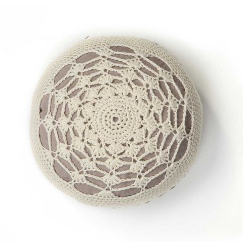 Shell,Crochet,Cushion,crocheted, british wool, circular