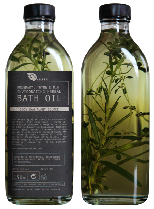 ROSEMARY, THYME AND MINT INVIGORATING HERBAL BATH OIL 150ml - product images