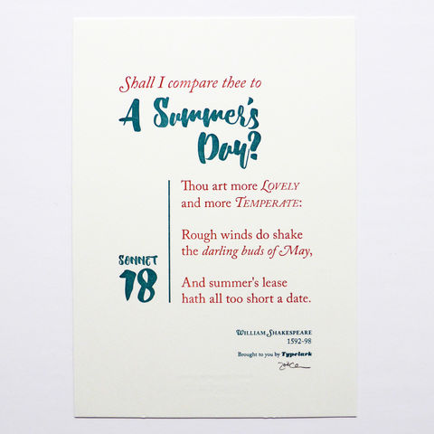 Shakespeare: Sonnet 18 'Shall I Compare Thee To A Summer's Day?' - A5 Letterpress Typographic Print (Sold UNFRAMED) - product images  of