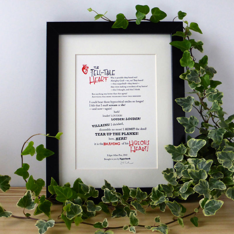 The Tell-Tale Heart - A5 Letterpress Typographic Print (Sold UNFRAMED) - product images  of