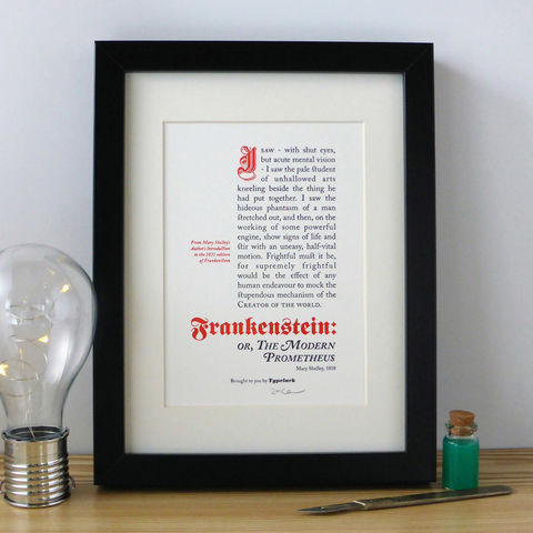 Frankenstein,-,A5,Letterpress,Typographic,Print,(Sold,UNFRAMED),Art, Printmaking, Letterpress, print, typography, type, English, traditional, literature, horror, gothic, red, white, black, Frankenstein, Mary Shelley