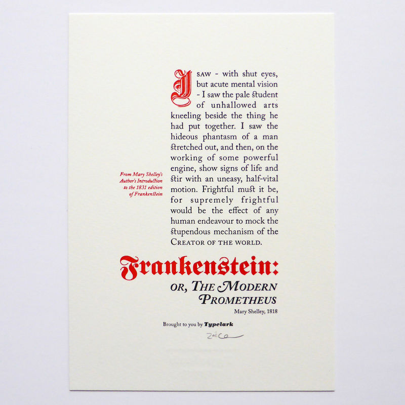 Frankenstein - A5 Letterpress Typographic Print (Sold UNFRAMED) - product images  of