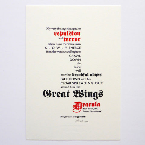 Dracula - A5 Letterpress Typographic Print (Sold UNFRAMED) - product images  of