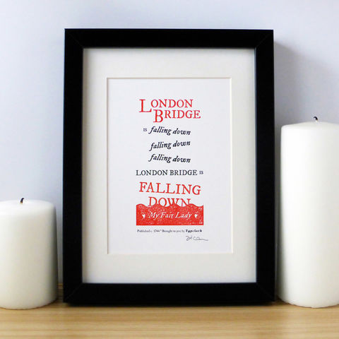 London Bridge Is Falling Down - A5 Letterpress Typographic Print (Sold UNFRAMED) - product images  of