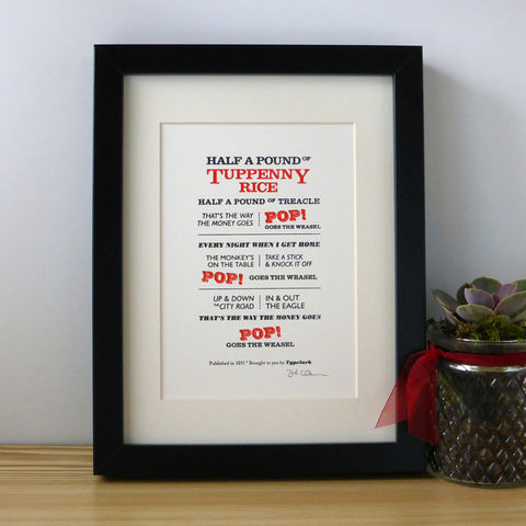 Pop!,Goes,The,Weasel,-,A5,Letterpress,Typographic,Print,(Sold,UNFRAMED),Art, Printmaking, Letterpress, print, typography, type, English, traditional, nursery rhyme, rhyme, red, white, black, Pop! Goes The Weasel, London