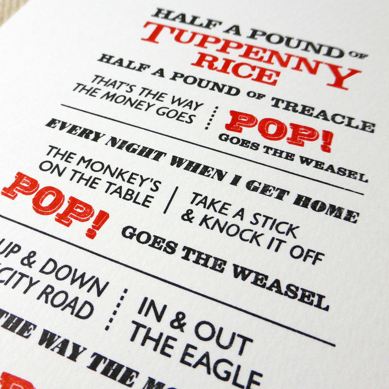 Pop! Goes The Weasel - A5 Letterpress Typographic Print (Sold UNFRAMED) - product images  of