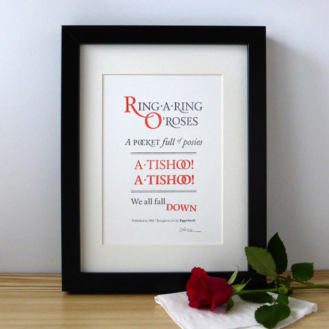 Ring-A-Ring,O',Roses,-,A5,Letterpress,Typographic,Print,(Sold,UNFRAMED),Art, Printmaking, Letterpress, print, typography, type, English, traditional, nursery rhyme, rhyme, red, white, black, Ring-A-Ring O' Roses, London