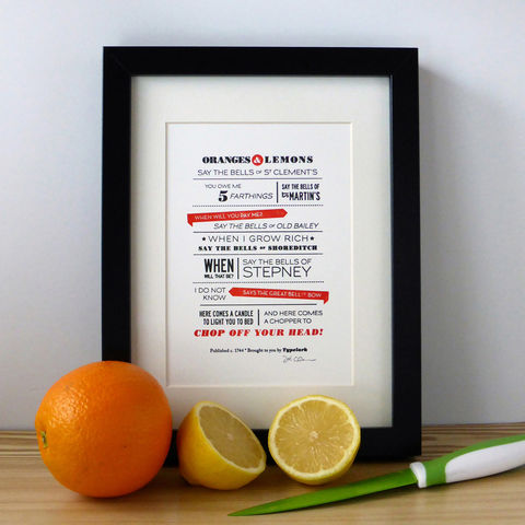 Oranges,and,Lemons,-,A5,Letterpress,Typographic,Print,(Sold,UNFRAMED),Art, Printmaking, Letterpress, print, typography, type, English, traditional, nursery rhyme, rhyme, red, white, black, Oranges and Lemons, London