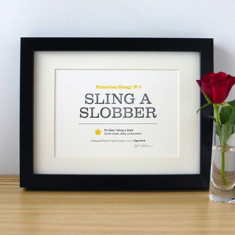Victorian,Slang,No.4:,Sling,A,Slobber,-,A5,Letterpress,Typographic,Print,(Sold,UNFRAMED),Art, Printmaking, Letterpress, print, typography, type, letterpress, Victorian, English, slang, kiss, fun, black, yellow, white, traditional
