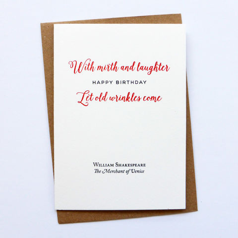 With,Mirth,and,Laughter,Shakespeare,Birthday,-,Letterpress,Typographic,Card,birthday, greeting, Cards, greeting card, letterpress, typography, type, Mirth, Laughter, Shakespeare, traditional, British, black, white, red, fun