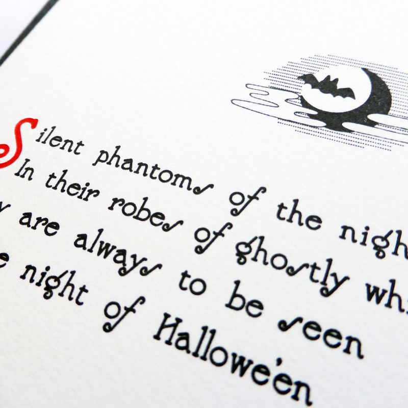 Silent Phantoms: Hallowe'en - Letterpress Typographic Card - product images  of