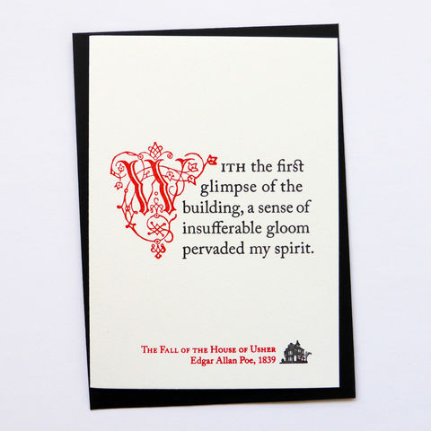 The,Fall,of,the,House,Usher:,Poe,-,Letterpress,Typographic,Card, Usher, Edgar, Allan, Poe, Hallowe'en, Halloween, greeting, Cards, greeting card, letterpress, typography, type, British, black, red, gothic, horror