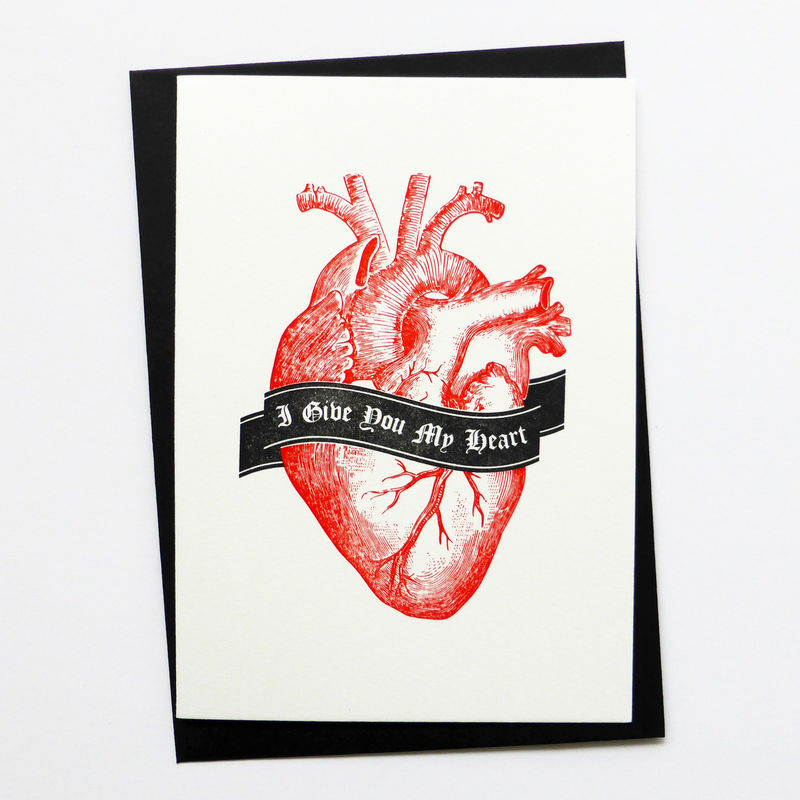 I Give You My Heart - Letterpress Typographic Card - product images  of
