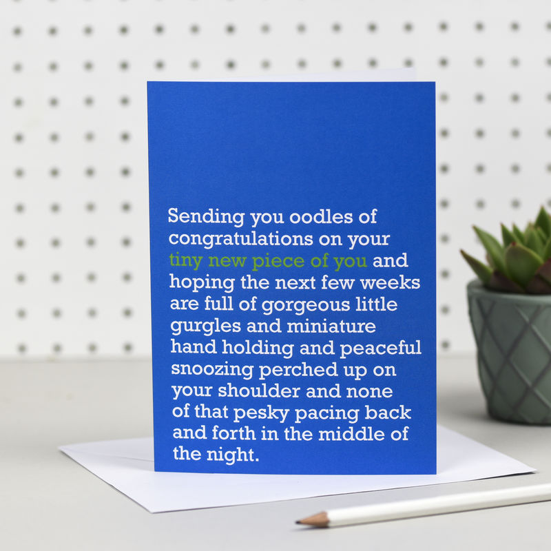 'Tiny New Piece Of You' New Baby Boy Card - product image