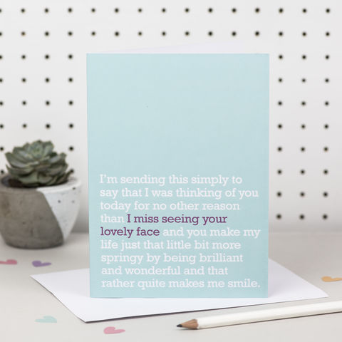 'I,Miss,Seeing,Your,Lovely,Face',Card,thinking of you cards