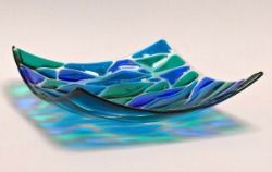 Wave,-,3,colour,square,dish,,20x20cm, colour, blue, green, teal, violet, glossy, square, 3 colour dish, decorative