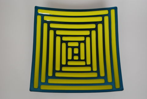 Geometric,spiral,geometric, glass, yellow, navy, dish, bright