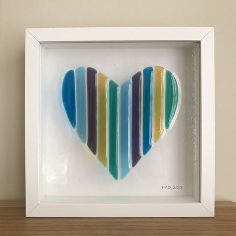 Heart,panel,-,multi-striped,Framed heart panel, striped heart, heart, green, blue, yellow, love, gift