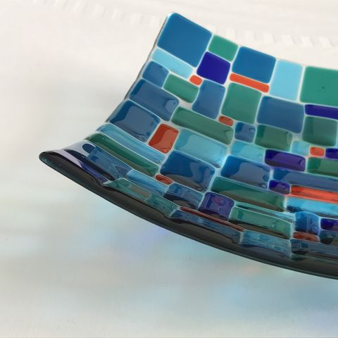 Jewel,Weave,dish,-,more,photos,glass, jewel, blue, green, gift, present