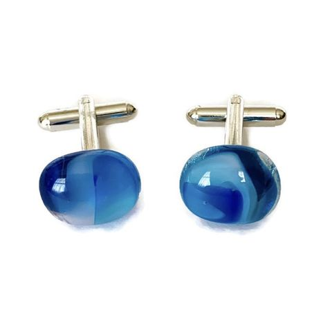 Cufflink - blue marble - product images  of