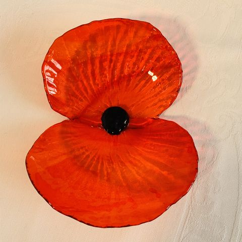 Poppy,'Natural', red, flower, scarlet, scarlet red, glass poppy, glass flower, garden