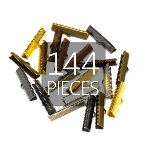 144pcs,25mm,(1),Ribbon,Clamp,End,Crimps,25mm ribbon clamps, 1 ribbon clamps, ribbon clamps, ribbon crimps, ribbon ends, ribbon findings, bulk ribbon clamps