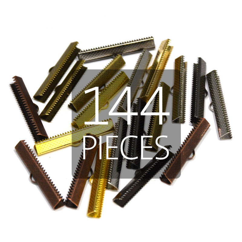 "144pcs 38mm (1 1/2"") Ribbon Clamp End Crimps - product images  of"